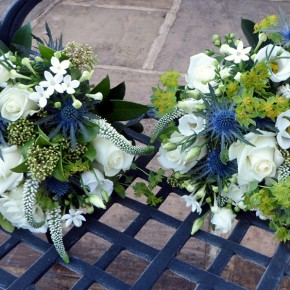 thistle bouquets, winter wedding