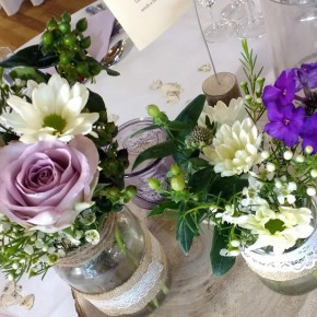 jam jar flowers, wedding decorations