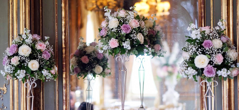 roses, venue decorations, tall arrangements
