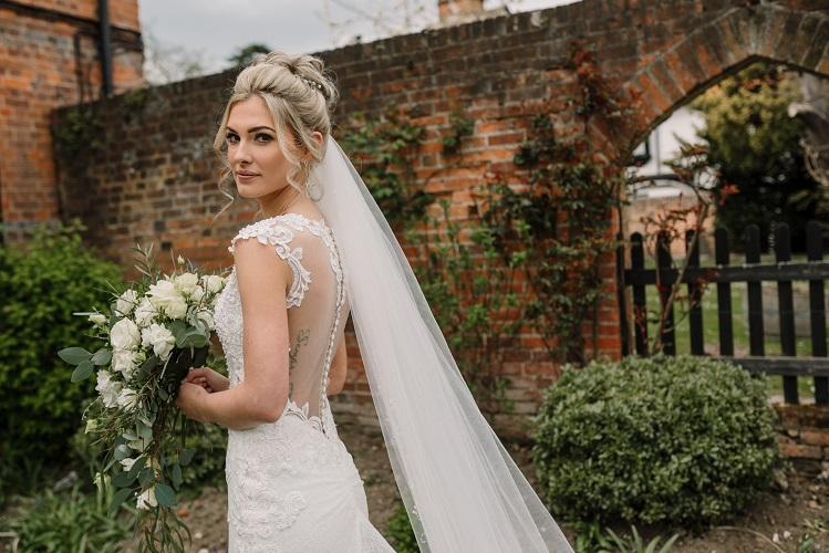 white wedding shower bouquet