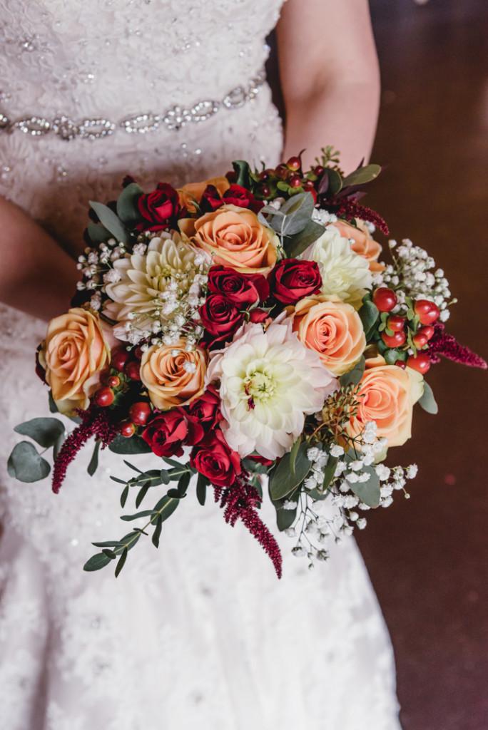 bride with wedding bouquet Berkshire